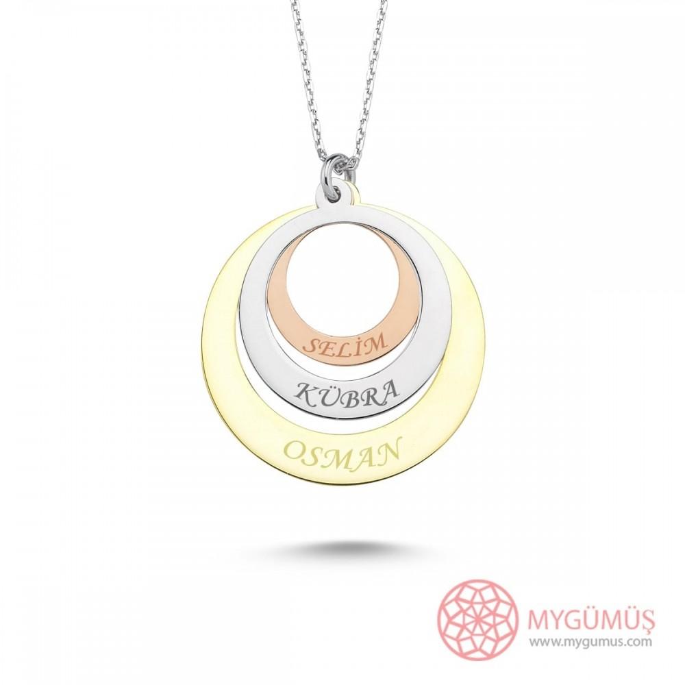 İsme Özel Renkli Halkalar Gümüş Kolye MY101665 10032 Thumb