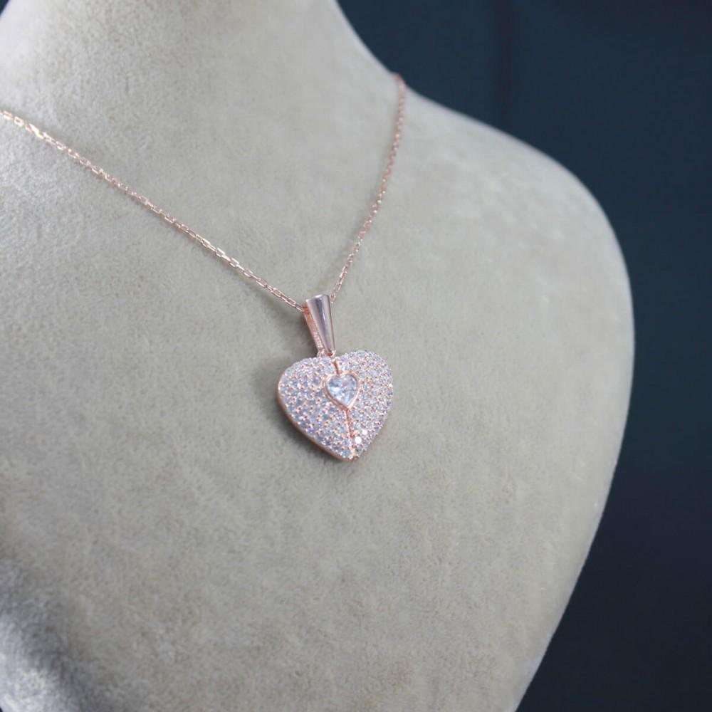 İsme Özel Sihirli Kalp Gümüş Kolye MY101442 10305 Thumb