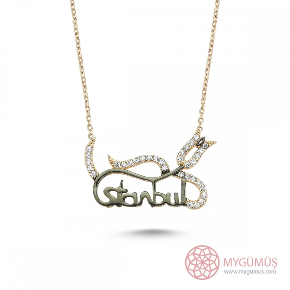 İstanbul Lale Motifli Gümüş Kolye MY101248 8776 Thumb