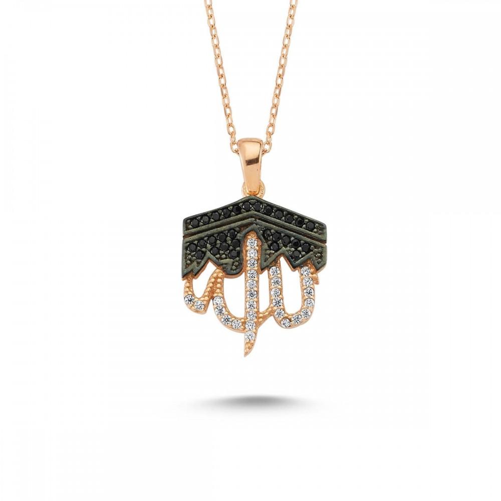 Kabe Motifli Allah Yazılı Gümüş Kolye MY101353 11046 Thumb