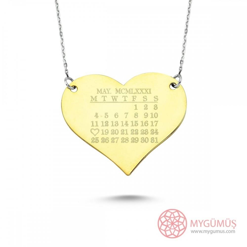 Kalp Üzerinde Tarih Temalı Gümüş Kolye MY101298 9412 Thumb