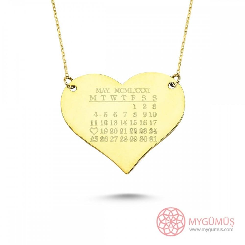 Kalp Üzerinde Tarih Temalı Gümüş Kolye MY101298 9411 Thumb