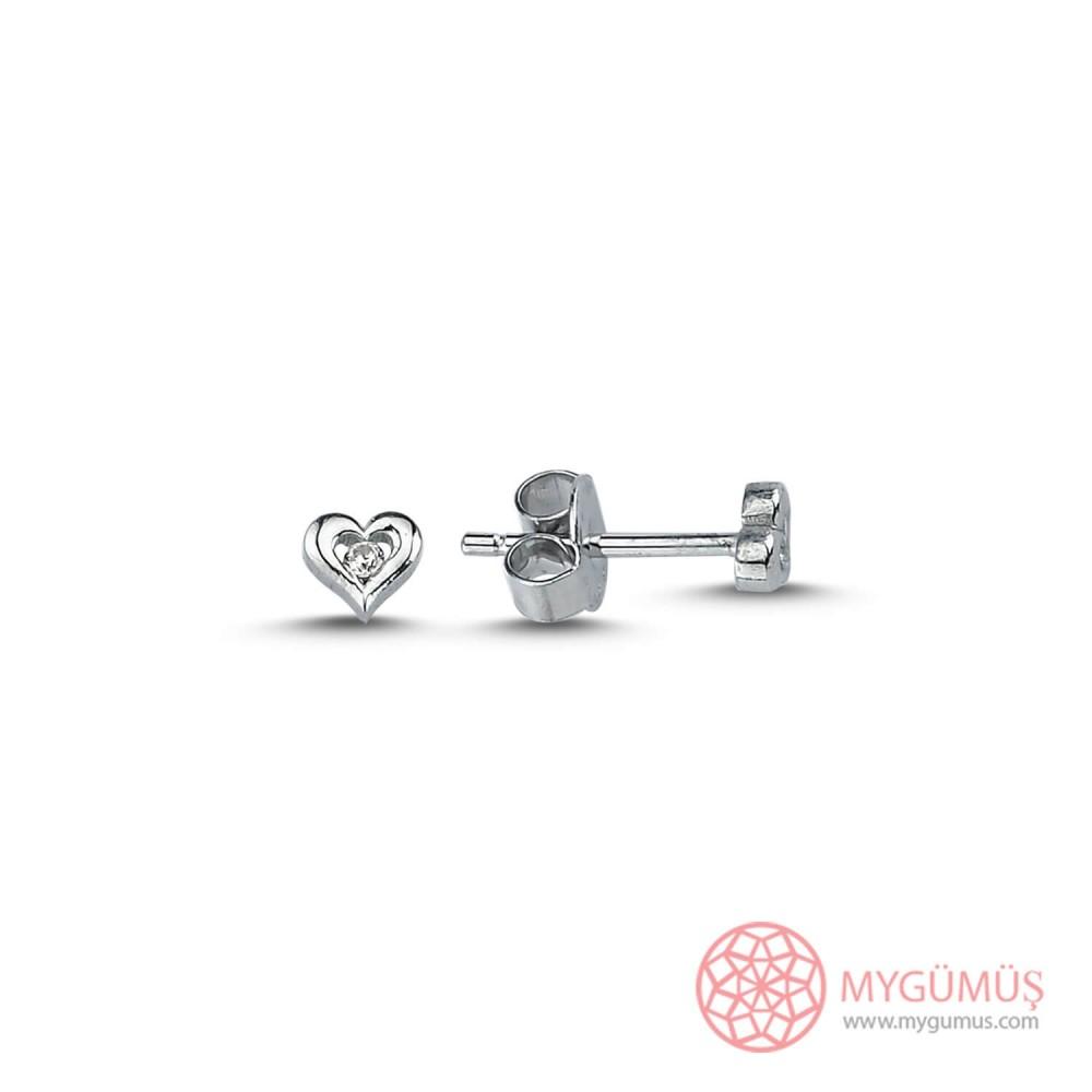 Kalp Tek Taş Vıdalı Gümüş Küpe MY101478 9909 Thumb