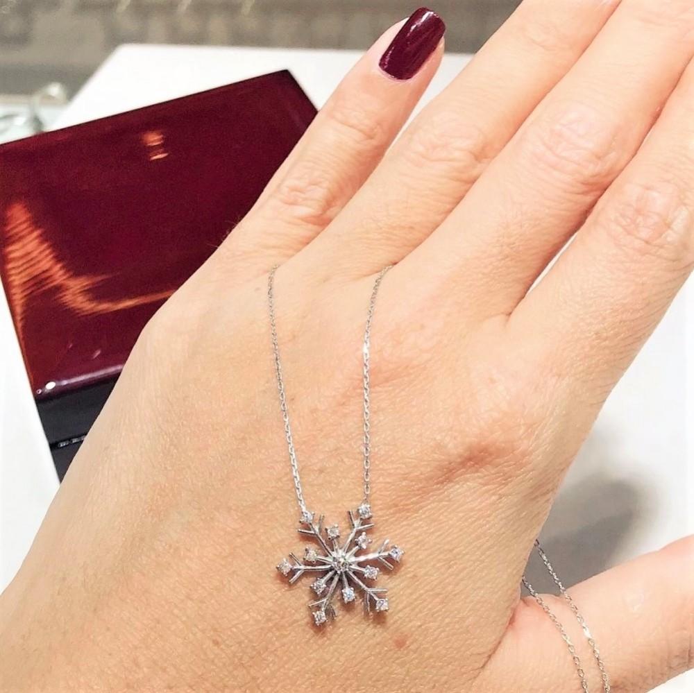 Kar Tanesi Zirkon Gümüş Kolye MY111081 11896 Thumb