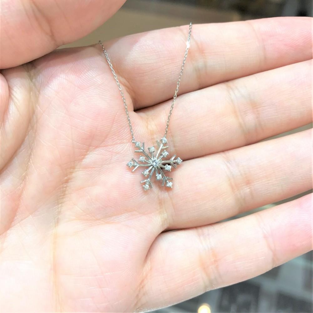 Kar Tanesi Zirkon Gümüş Kolye MY111081 13915 Thumb