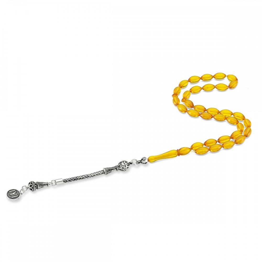 Kayı Boyu Gümüş Püsküllü Sarı Renk Sıkma Kehribar Tesbih MY0008 8328 Thumb