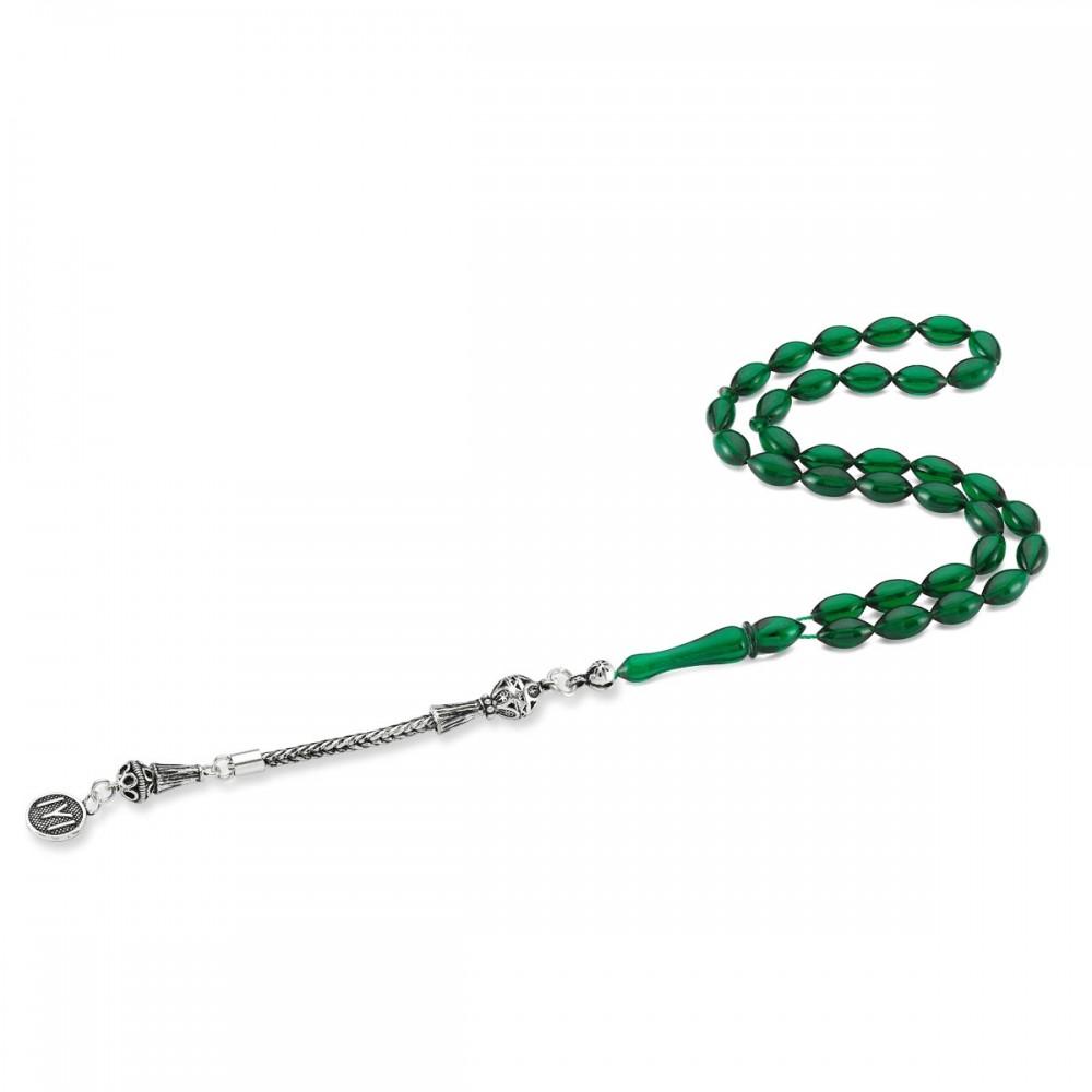 Kayı Boyu Gümüş Püsküllü Yeşil Renk Sıkma Kehribar Tesbih MY0023 8376 Thumb