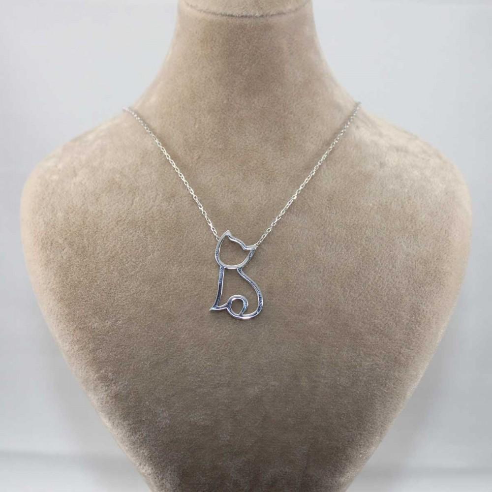 Kedi Figürlü Gümüş Kolye MY101263 9026 Thumb