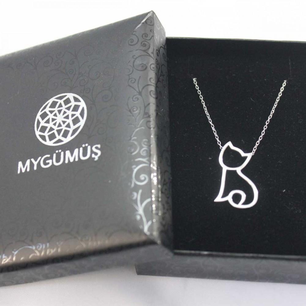 Kedi Figürlü Gümüş Kolye MY101263 9024 Thumb