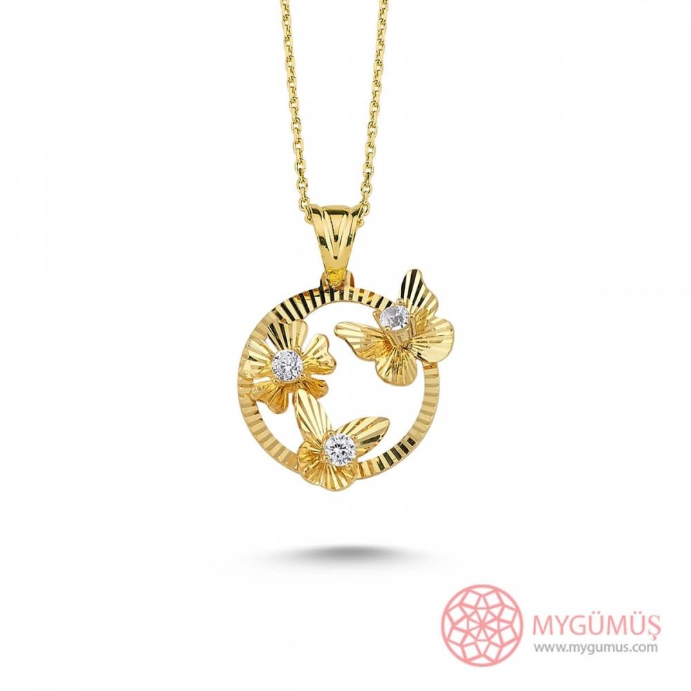 Kelebek Çiçek Gümüş Kolye MY101414 9656 Thumb