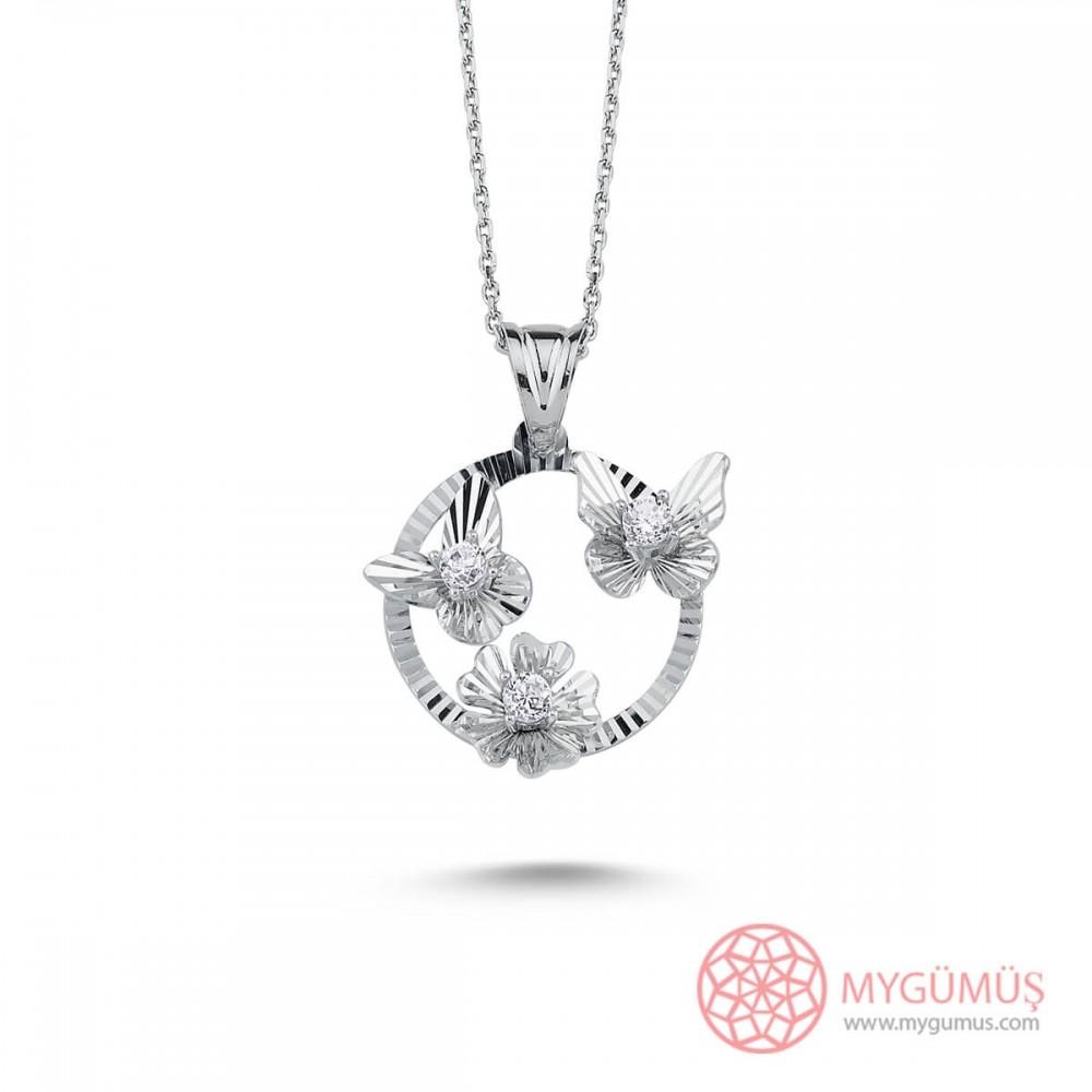 Kelebek Çiçek Gümüş Kolye MY101414 9655 Thumb