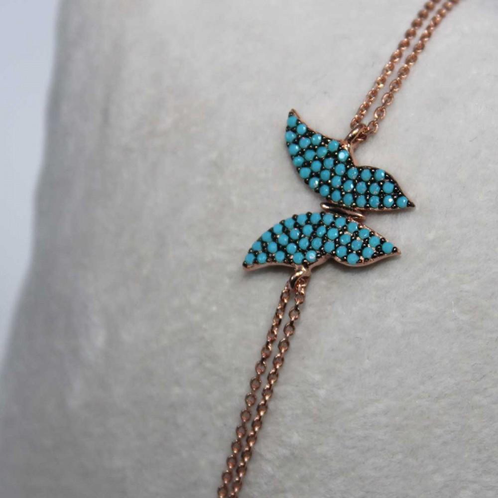 Kelebek Figürlü Firuze Taşlı Gümüş Bileklik MY100063 6904 Thumb
