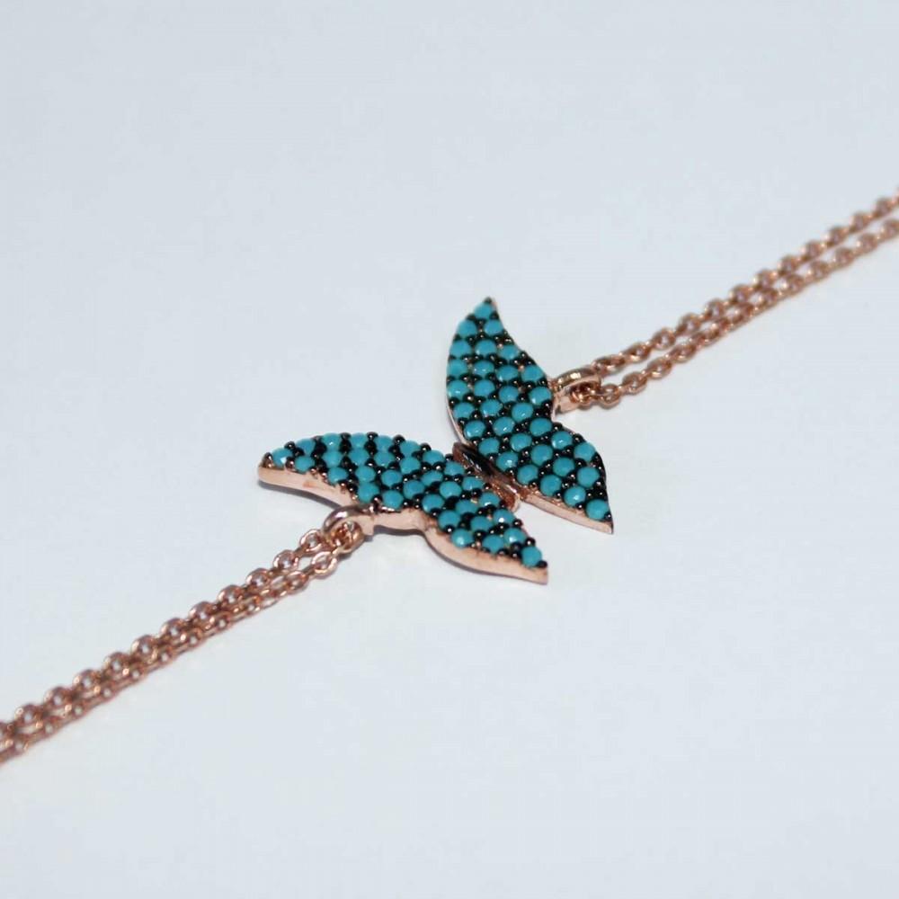 Kelebek Figürlü Firuze Taşlı Gümüş Bileklik MY100063 6902 Thumb