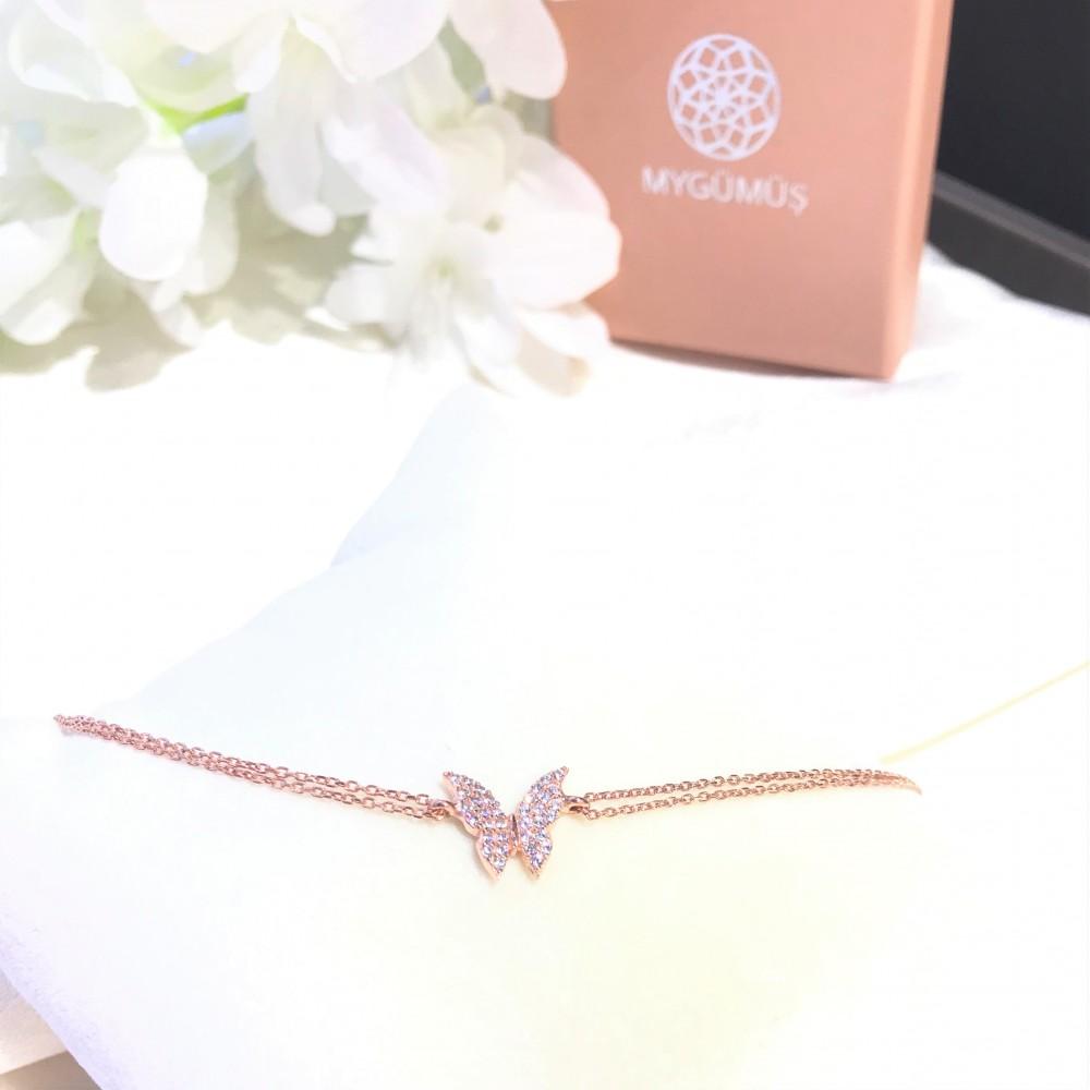 Kelebek Figürlü Gümüş Bileklik MY100065R 15018 Thumb