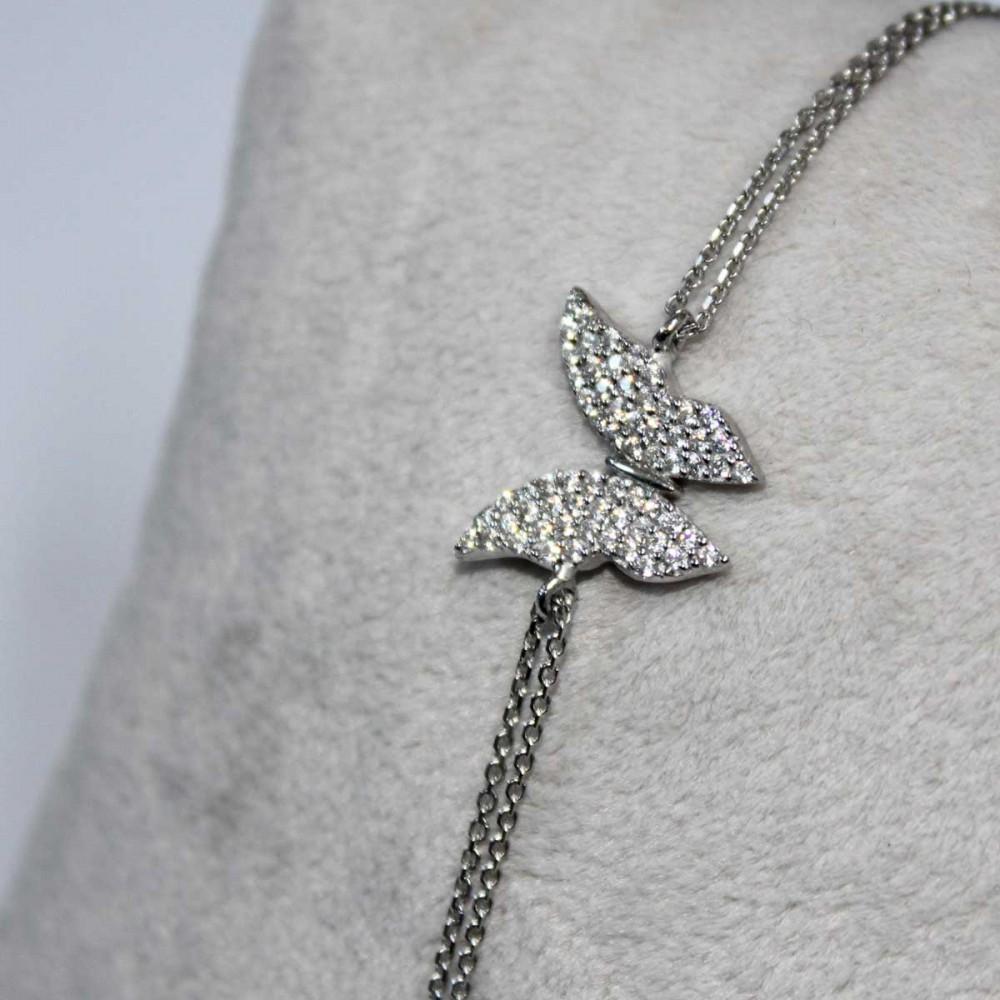 Kelebek Figürlü Gümüş Bileklik MY100065 6908 Thumb
