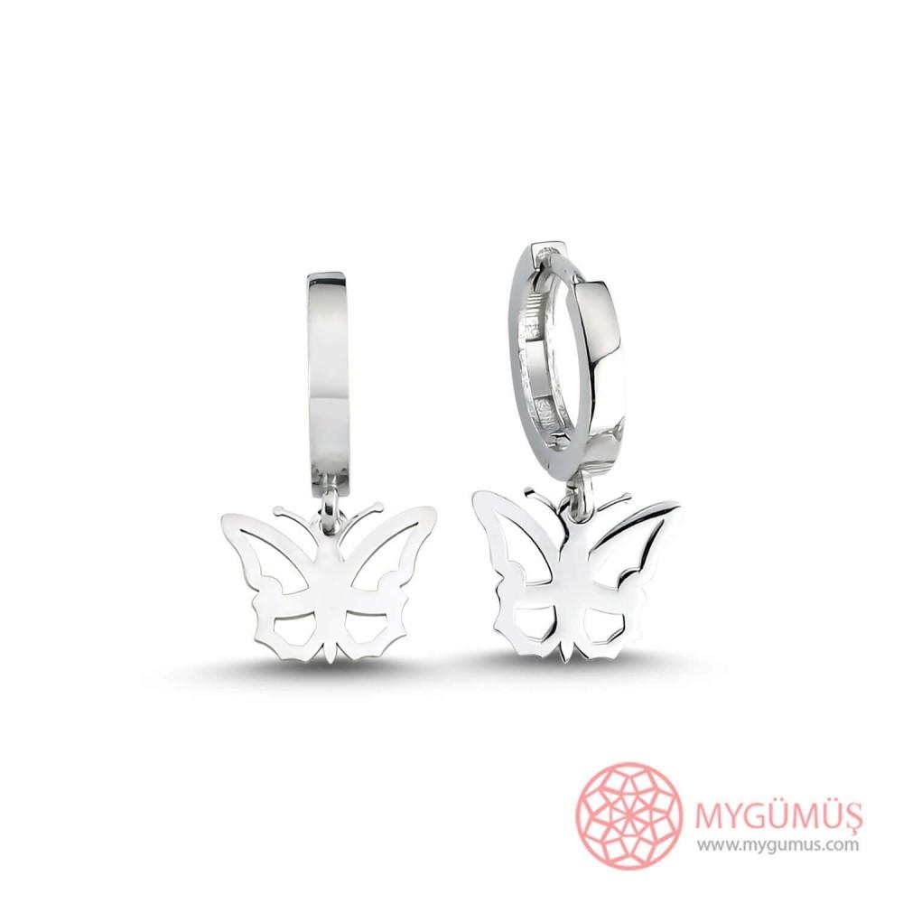 Kelebek Motifli Halka Gümüş Küpe MY101609 9942 Thumb