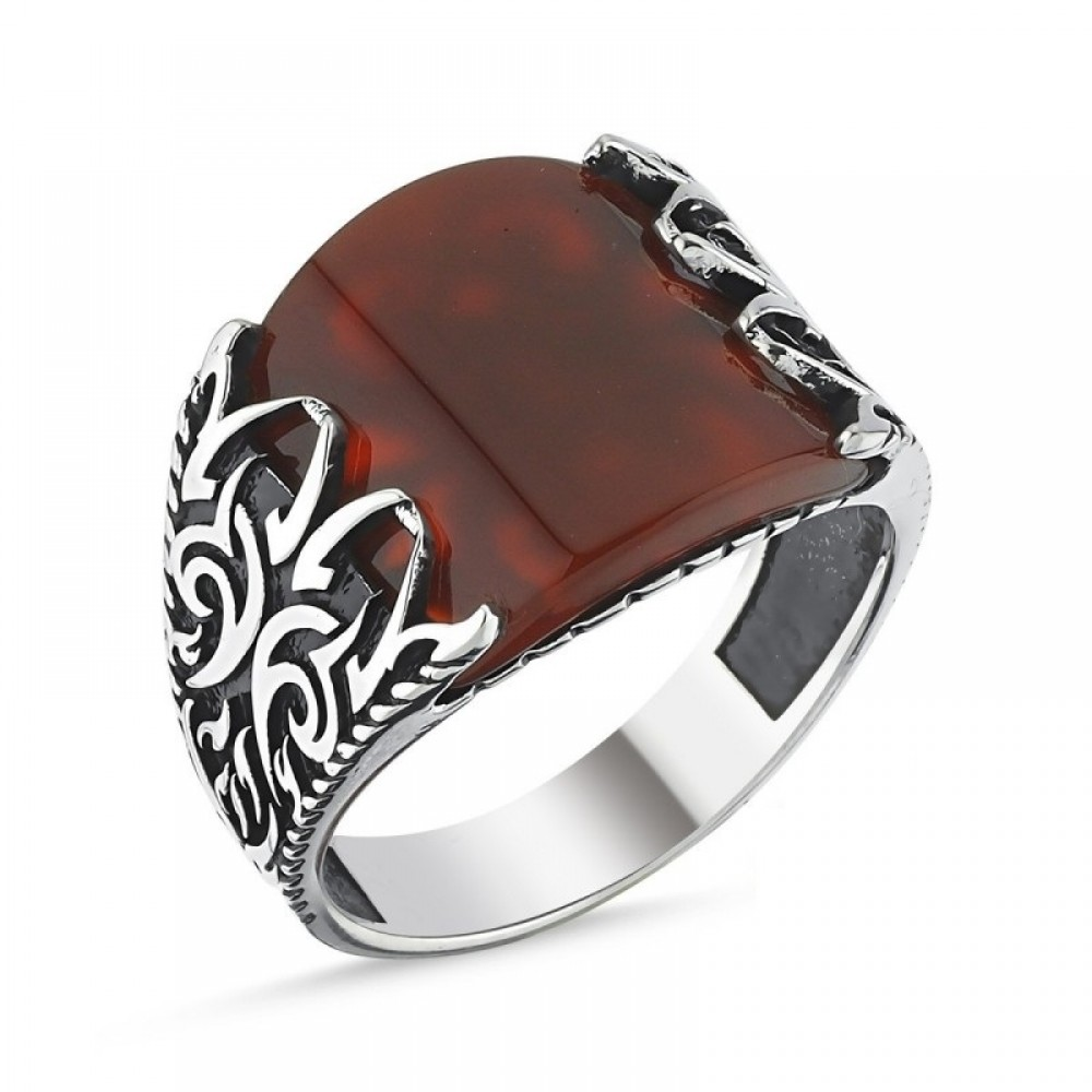 Kırmızı Akik Taşlı Erkek Gümüş Yüzük MY101815 10537 Thumb