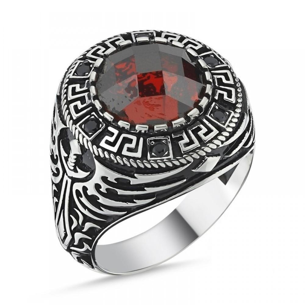 Kırmızı Faset Taşlı Erkek Gümüş Yüzük MY101813 10534 Thumb