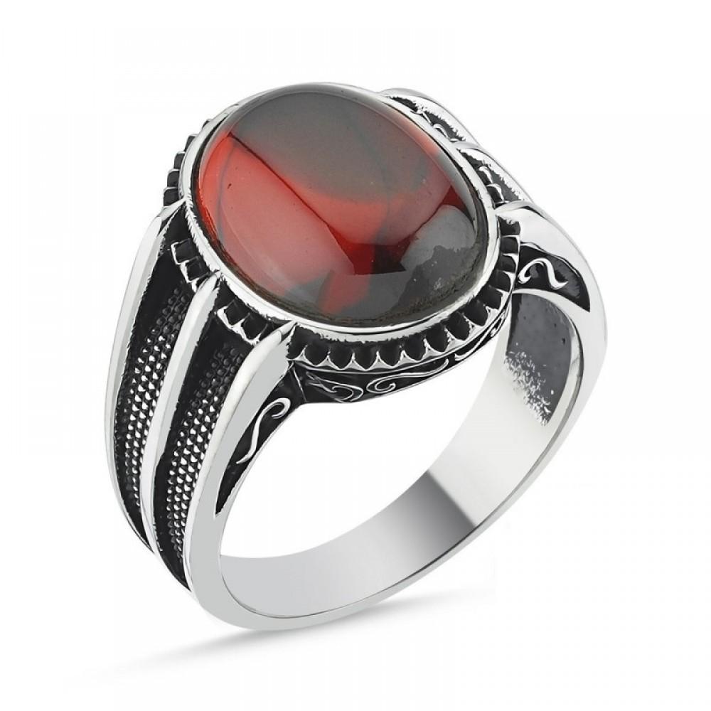 Kırmızı Kapşon Taşlı Erkek Gümüş Yüzük MY101811 10533 Thumb
