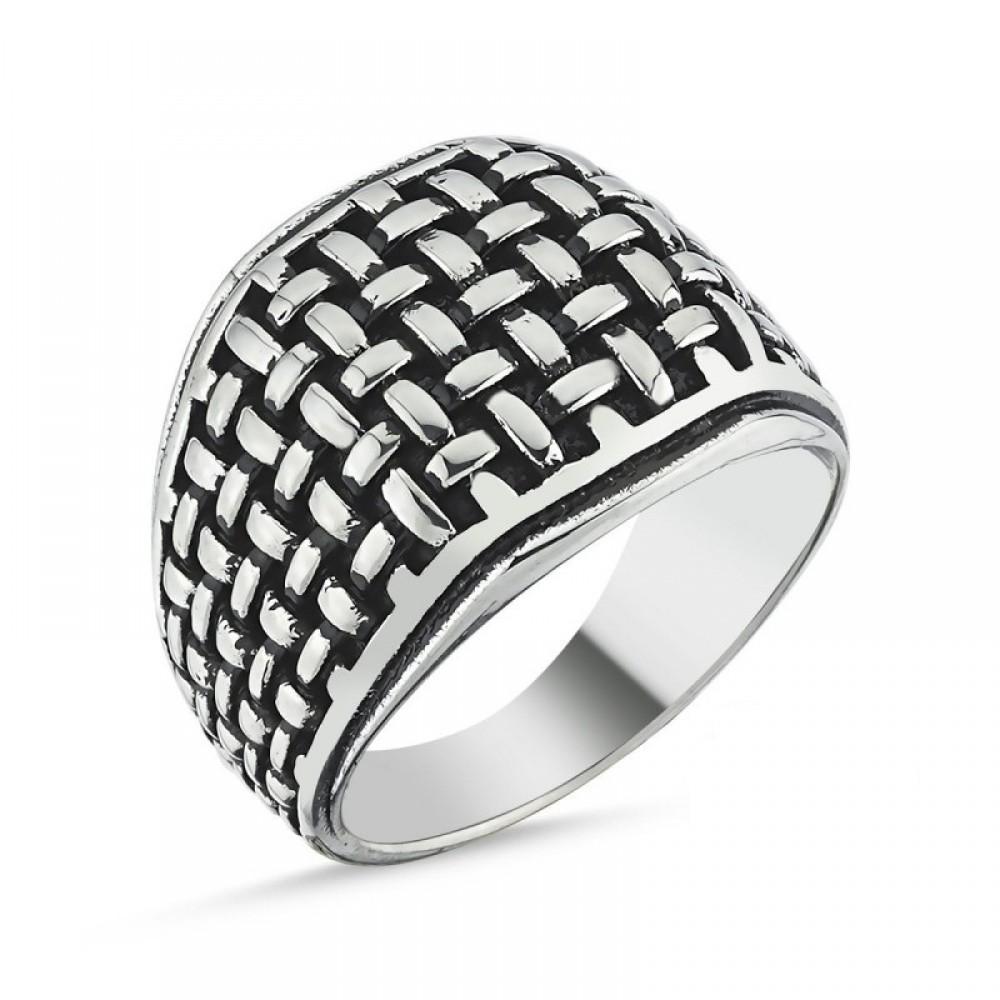 Motifli Erkek Gümüş Yüzük MY101807 10529 Thumb