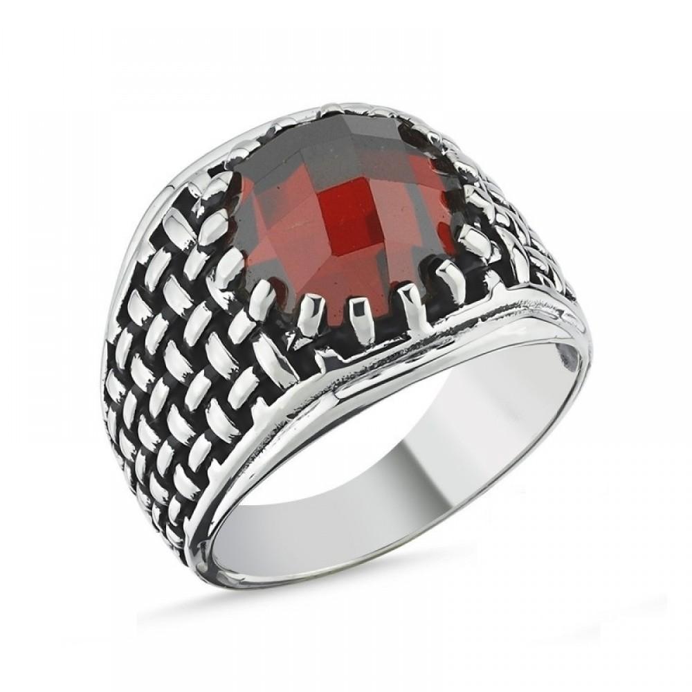 Motifli Kırmızı Taşlı Erkek Gümüş Yüzük MY101804 10523 Thumb