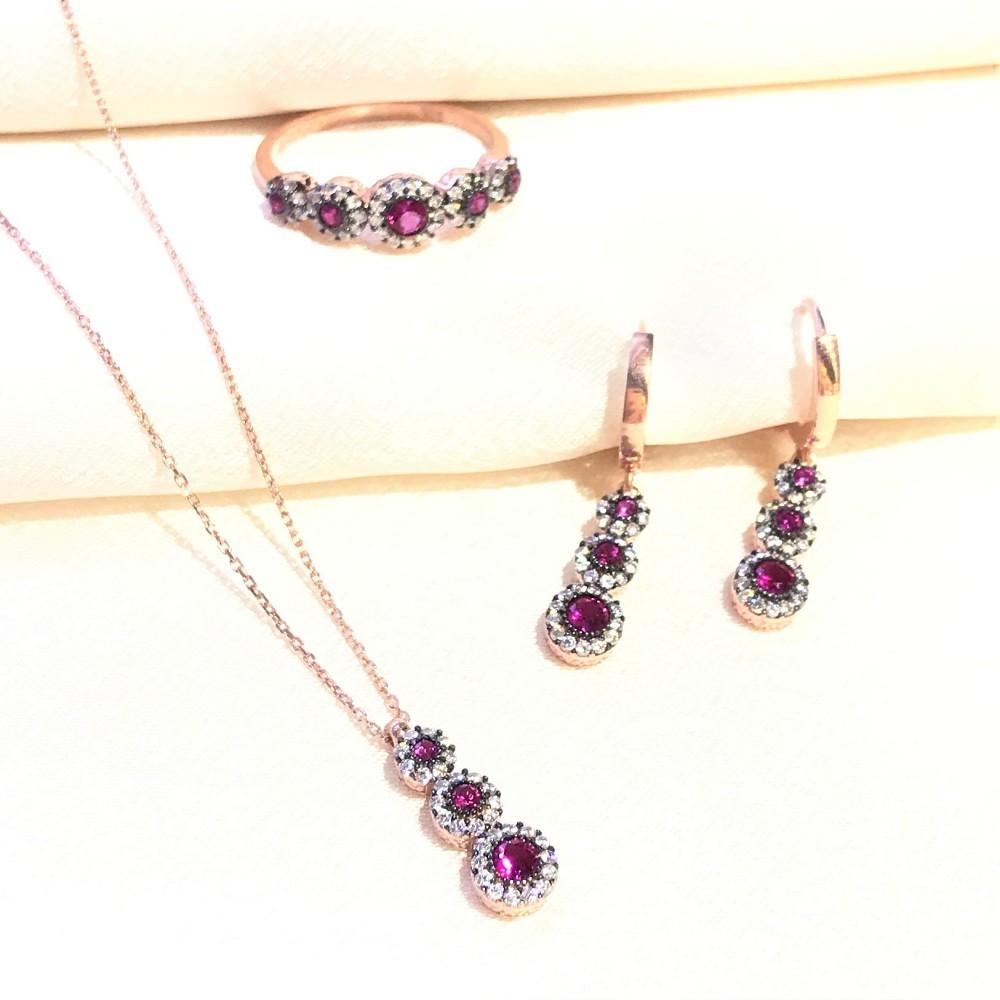 Kırmızı Taşlı Tria Gümüş Set MYS3008 14650 Thumb