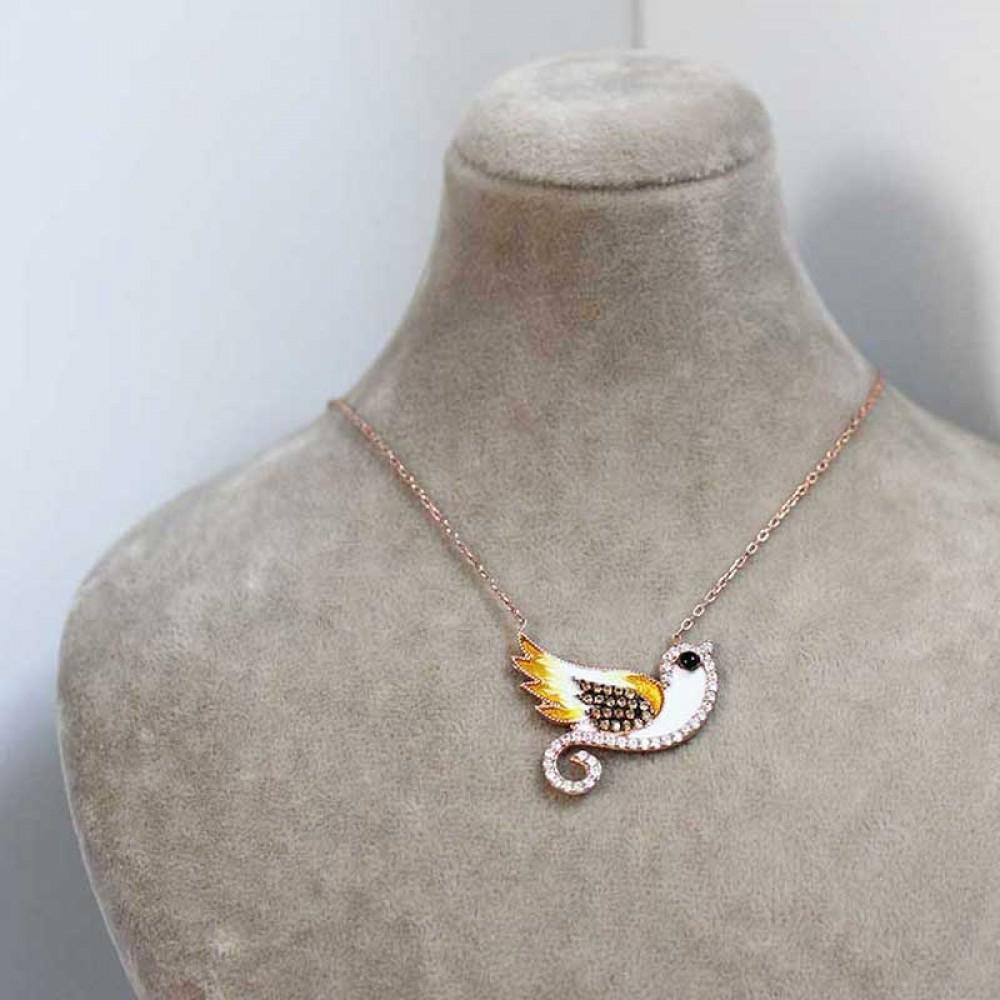 Kuş Figürlü Mineli Gümüş Kolye MY0201015 7348 Thumb