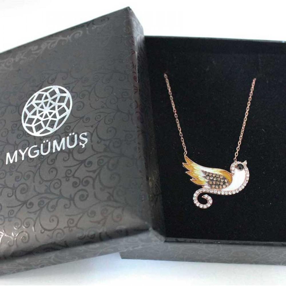 Kuş Figürlü Mineli Gümüş Kolye MY0201015 7346 Thumb