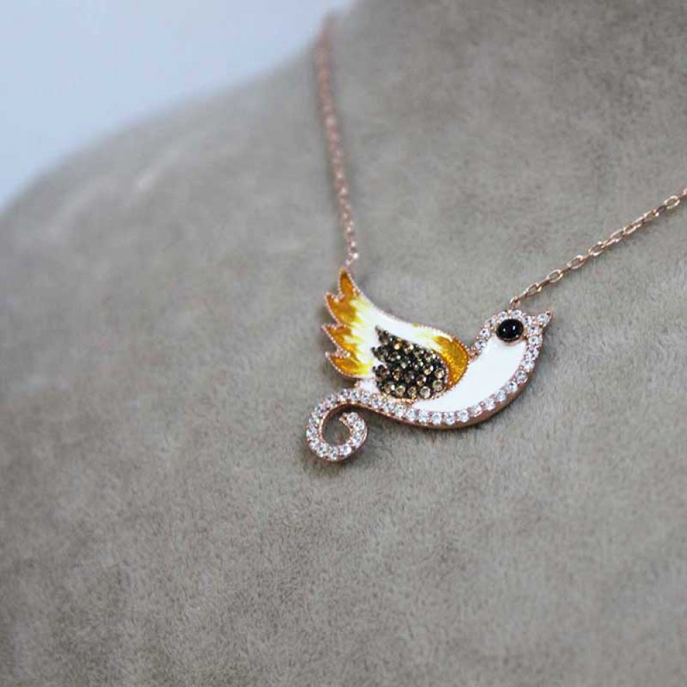 Kuş Figürlü Mineli Gümüş Kolye MY0201015 7347 Thumb
