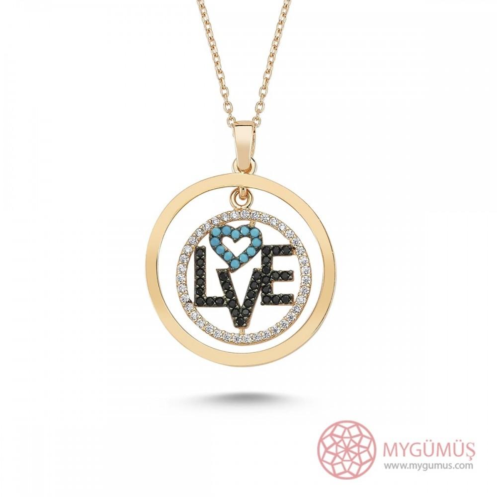 Love Yazılı Kalpli Gümüş Kolye MY101253 8781 Thumb
