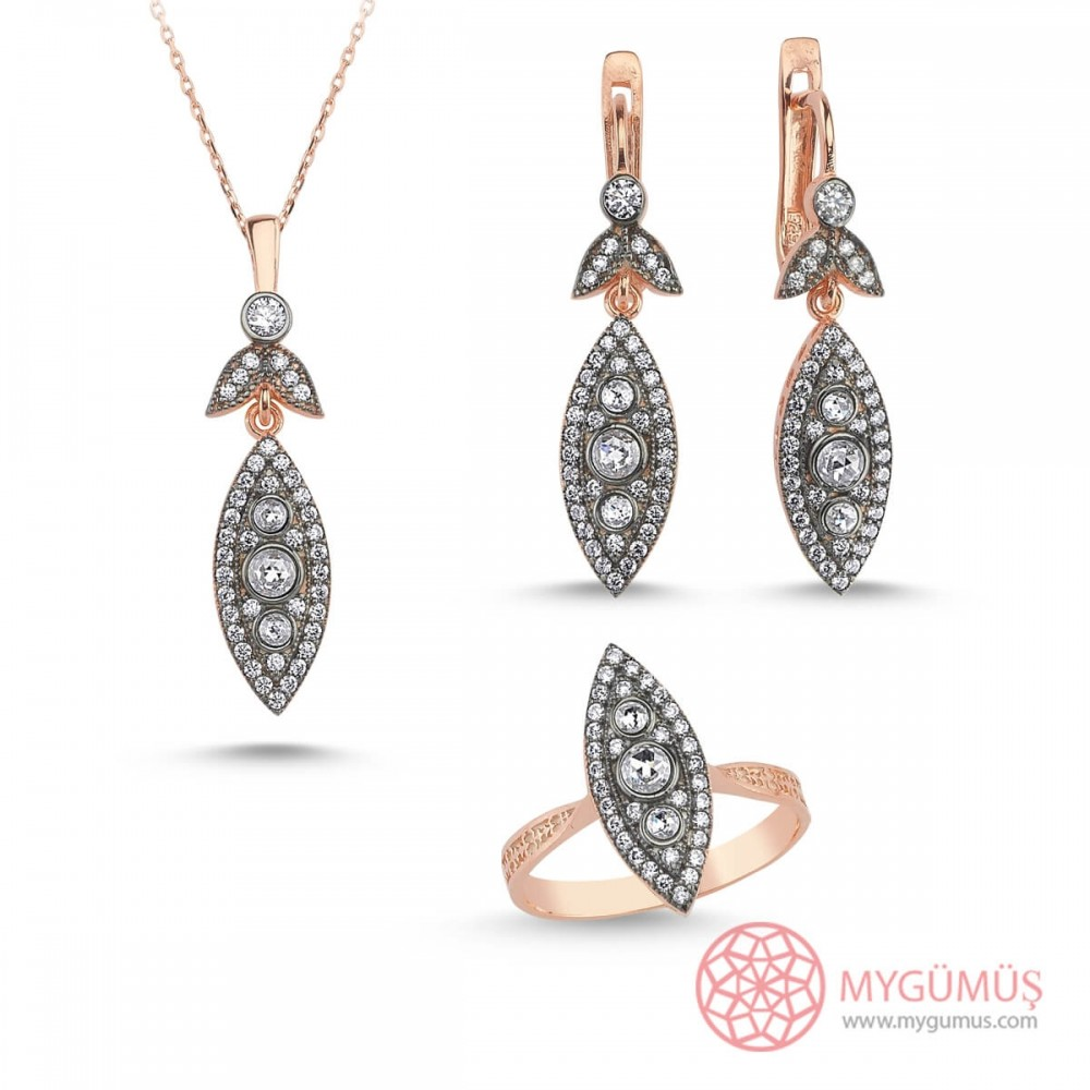 Markiz Elmas Montür Gümüş Set MY003003 10143 Thumb