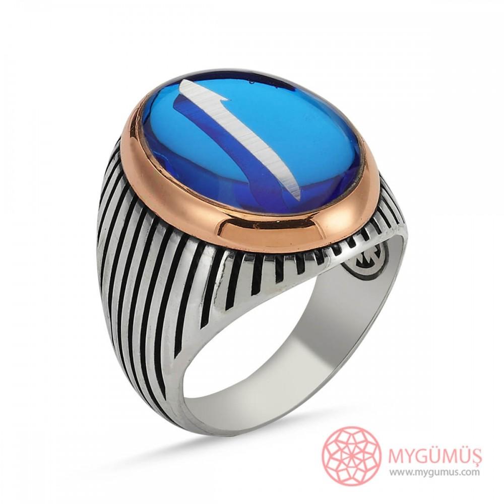 Mavi Mineli Elif Harf Motifli Erkek Gümüş Yüzük MY101235 8750 Thumb