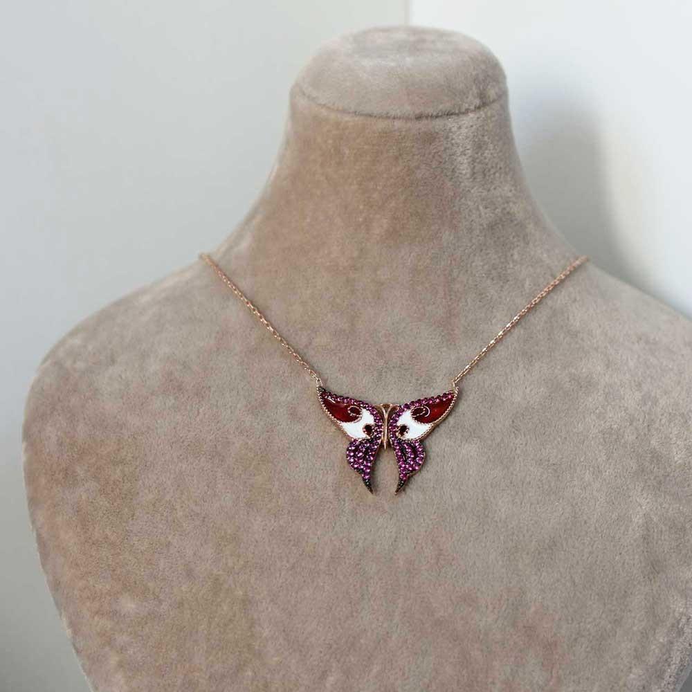 Taşlı Mineli Kelebek Gümüş Kolye MY0201016 7258 Thumb