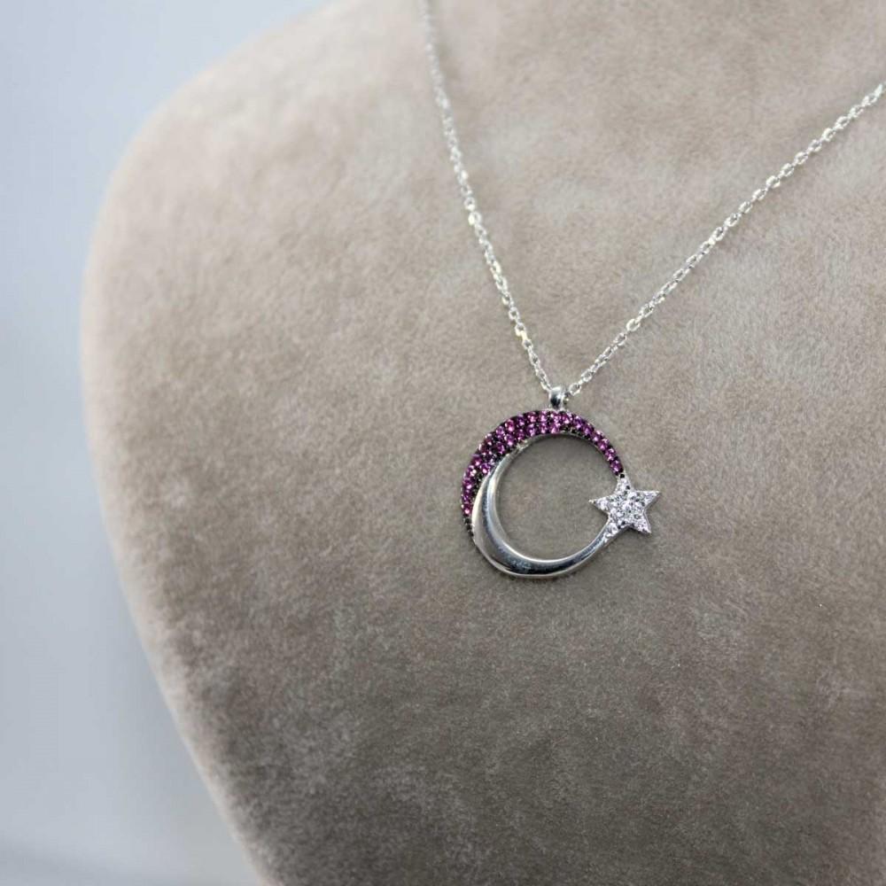 Mercan Taşlı Ay Yıldız Gümüş Kolye MY101212 9013 Thumb