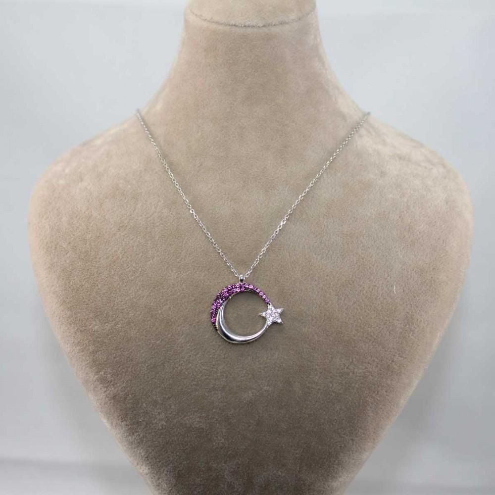 Mercan Taşlı Ay Yıldız Gümüş Kolye MY101212 9014 Thumb
