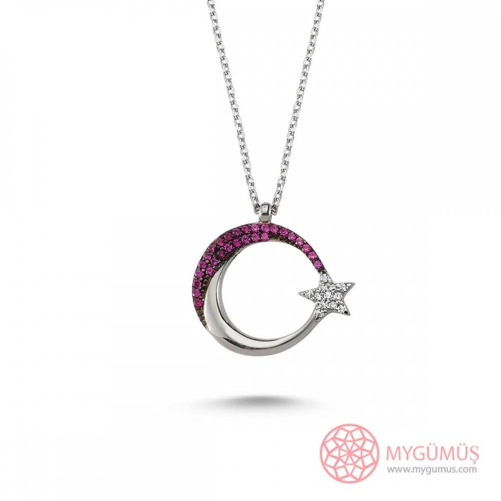 Mercan Taşlı Ay Yıldız Gümüş Kolye MY101212 8725 Thumb