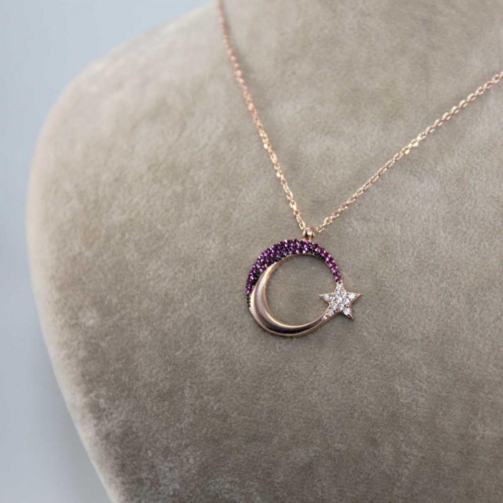 Mercan Taşlı Ay Yıldız Gümüş Kolye MY101213 8986 Thumb