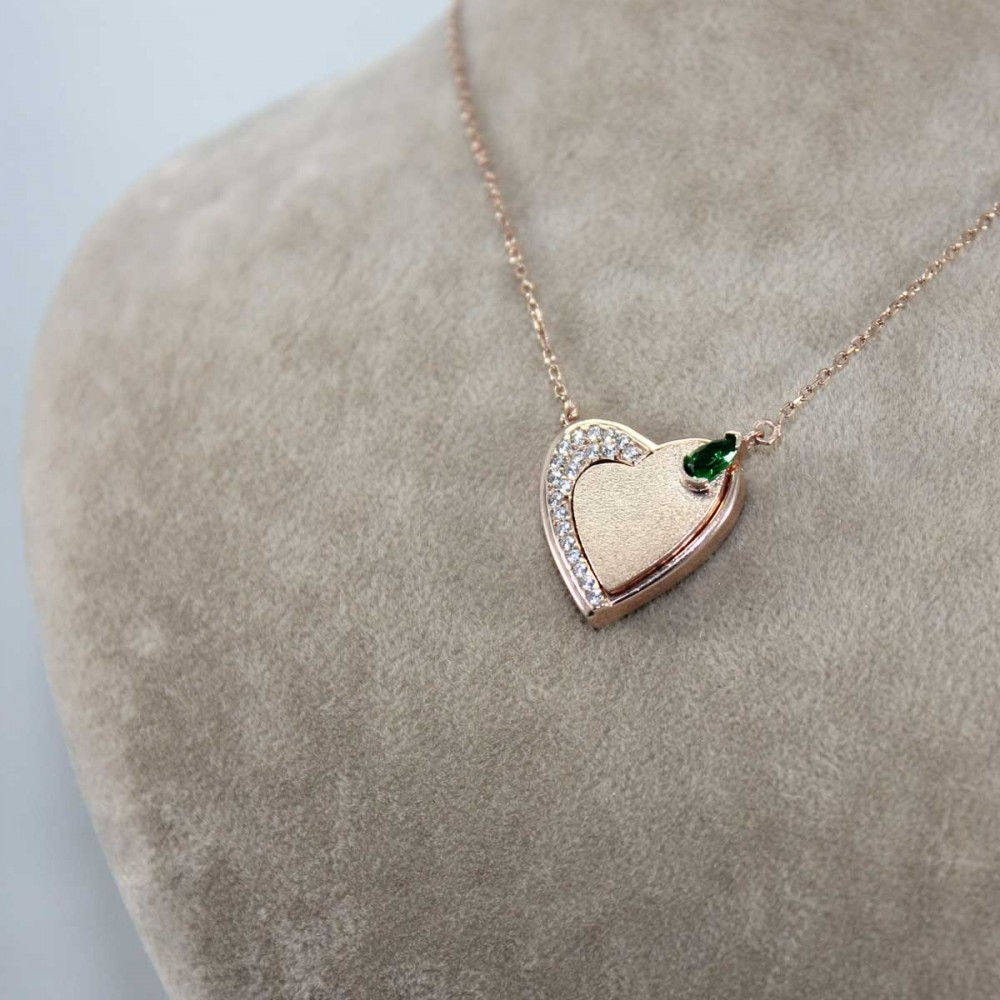 Mıknatıslı Kalp Gümüş Kolye MY101324 9139 Thumb