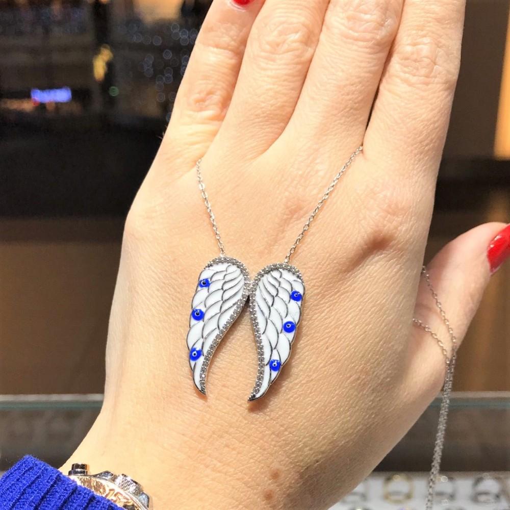Mineli Mavi Kanat Figürlü Gümüş Kolye MY101714 11996 Thumb