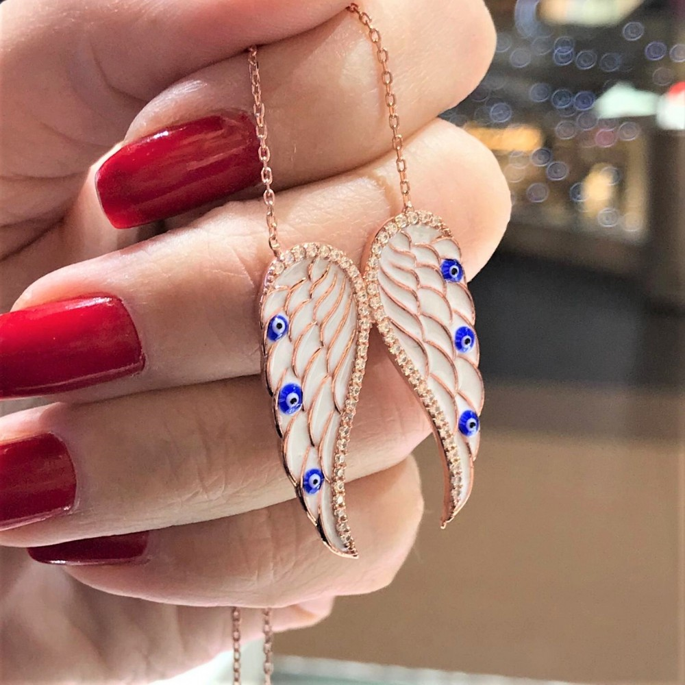 Mineli Mavi Kanat Figürlü Gümüş Kolye MY101714 11994 Thumb