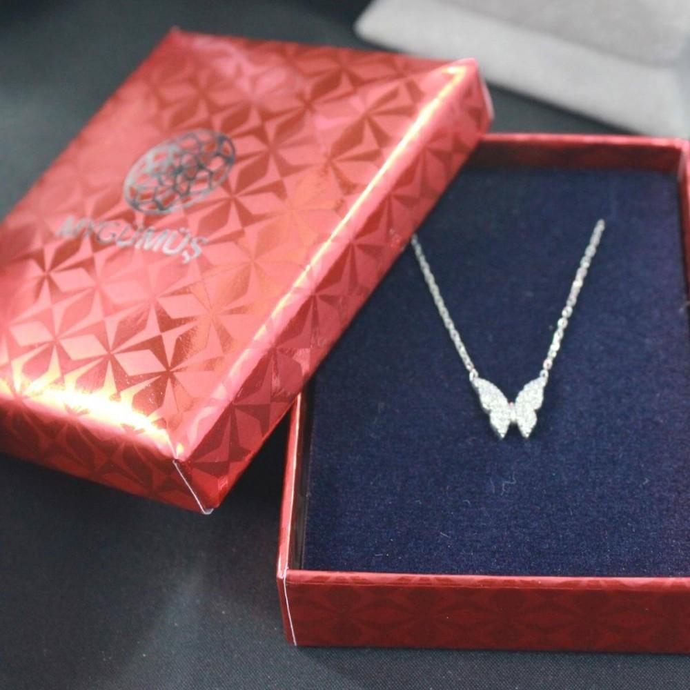 Minik Gümüş Kelebek Kolye MY101338 10391 Thumb