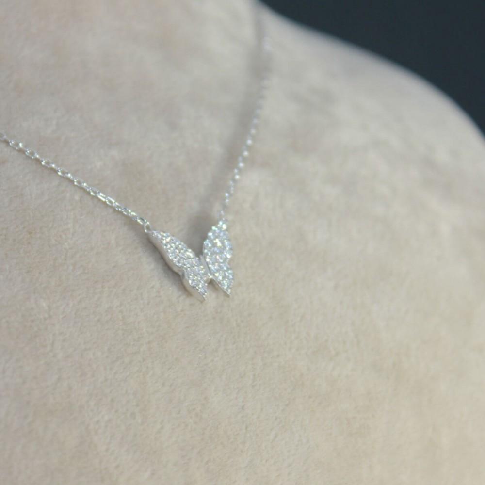 Minik Gümüş Kelebek Kolye MY101338 10392 Thumb