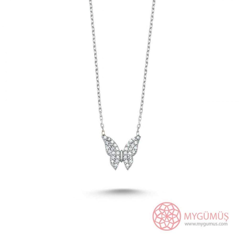 Minik Gümüş Kelebek Kolye MY101338 9397 Thumb