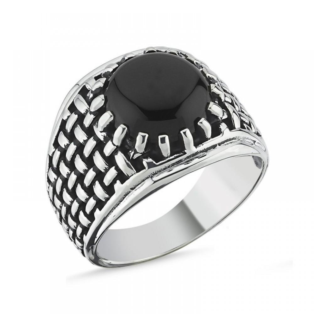 Motifli Siyah Taşlı Erkek Gümüş Yüzük MY101805 10526 Thumb