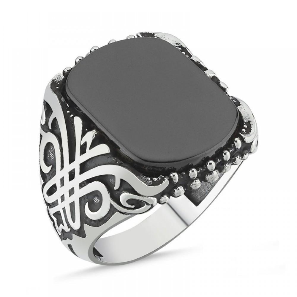 Onix Taşlı Erkek Gümüş Yüzük MY101820 10542 Thumb