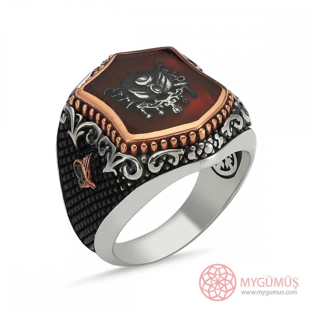 Osmanlı Tuğra İşlemeli Erkek Gümüş Yüzük MY101233 9037 Thumb