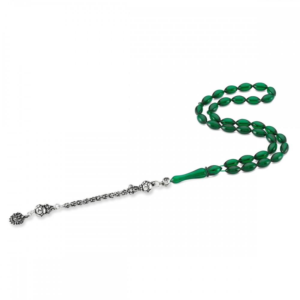 Osmanlı Armalı Gümüş Püsküllü Yeşil Renk Sıkma Kehribar Tesbih MY0034 8366 Thumb