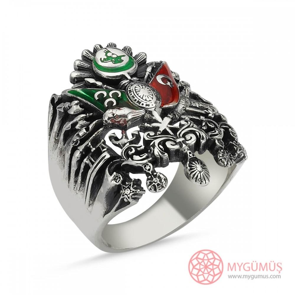 Osmanlı Devlet Armalı Erkek Gümüş Yüzük MY101217 8731 Thumb