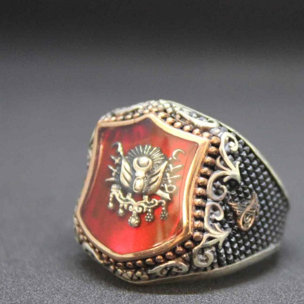 Osmanlı Tuğra İşlemeli Erkek Gümüş Yüzük MY101233 10484 Thumb