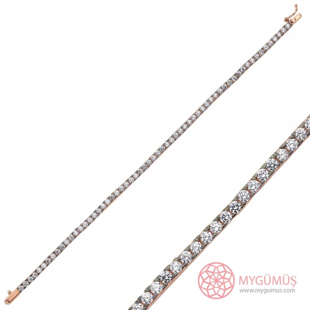 Elmas Montür Su Yolu Gümüş Bileklik Bayan MYB0010 10103 Thumb